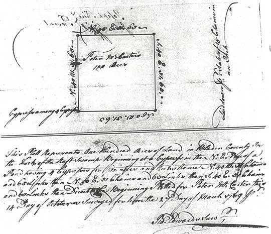 Plat for Peter McArthur 100 Acres in fork of Raft Swamp dated 1769